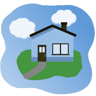 cartoon of house with lockbox on door